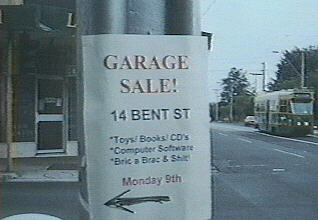 [Garage Sale sign]
