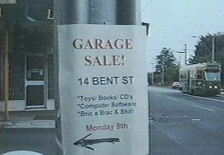 [Garage Sale sign]