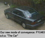 "[Our new mode of conveyance: FYU463 aka ""The Car""]"
