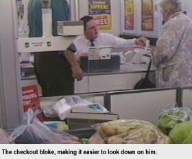 Supermarket checkout bloke