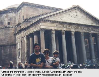 [Outside the Pantheon... Isaac's there, but the NZ tourist's aim wasn't the best]