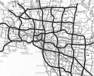 The 1969 Melbourne freeway plan. Click for an enlargement to see if your suburb was going to be bulldozed.