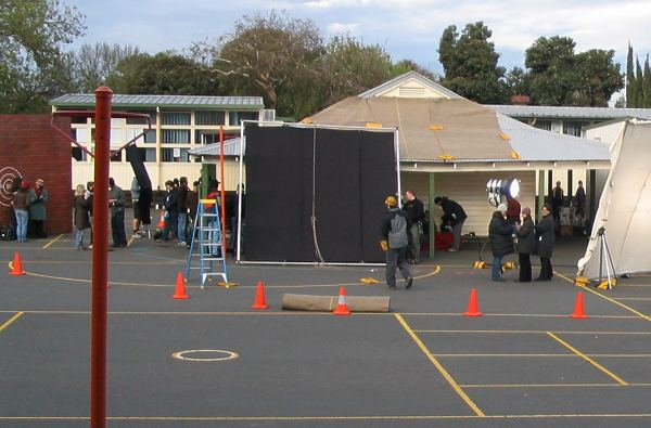 Filming in the schoolyard.