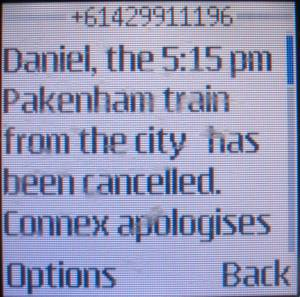 Connex cancelled train apology SMS