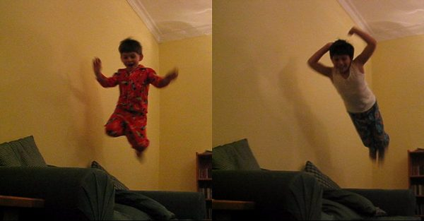 Kids jumping on couch