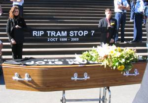 Coffin at Parliament House steps