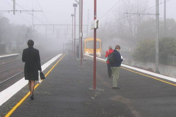 Glenhuntly station in the fog, yesterday morning