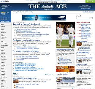 The Age web site front page yesterday