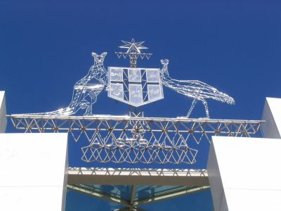 Australian Coat of arms above the entrance to Parliament House, Canberra