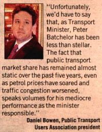 The fact that public transport market share has remained almost static over the past five years, even as petrol prices have soared and traffic congestion worsened, speaks volumes for his [Peter Batchelor's] mediocre performance as the minister responsible.