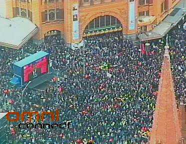 Crowd outside Flinders Street station