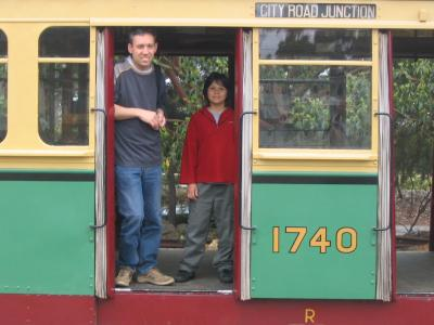 Daniel and Isaac on board an R class tram