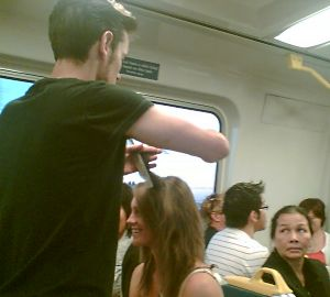 Hairdresser on train 2