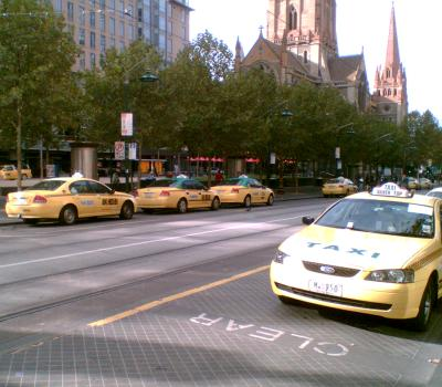Cabs in Swanston Street