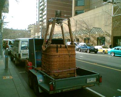 Hot air balloon packed up