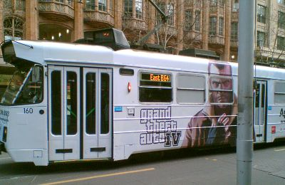 Tram with GTA advert on it