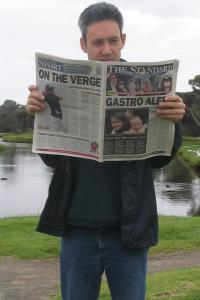 Daniel reading newspaper, Warrnambool