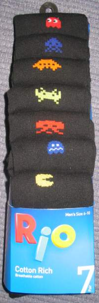 'Rio' brand Retro video game socks