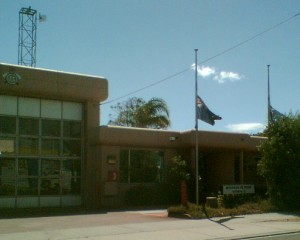 Ormond fire station, flags at half mast