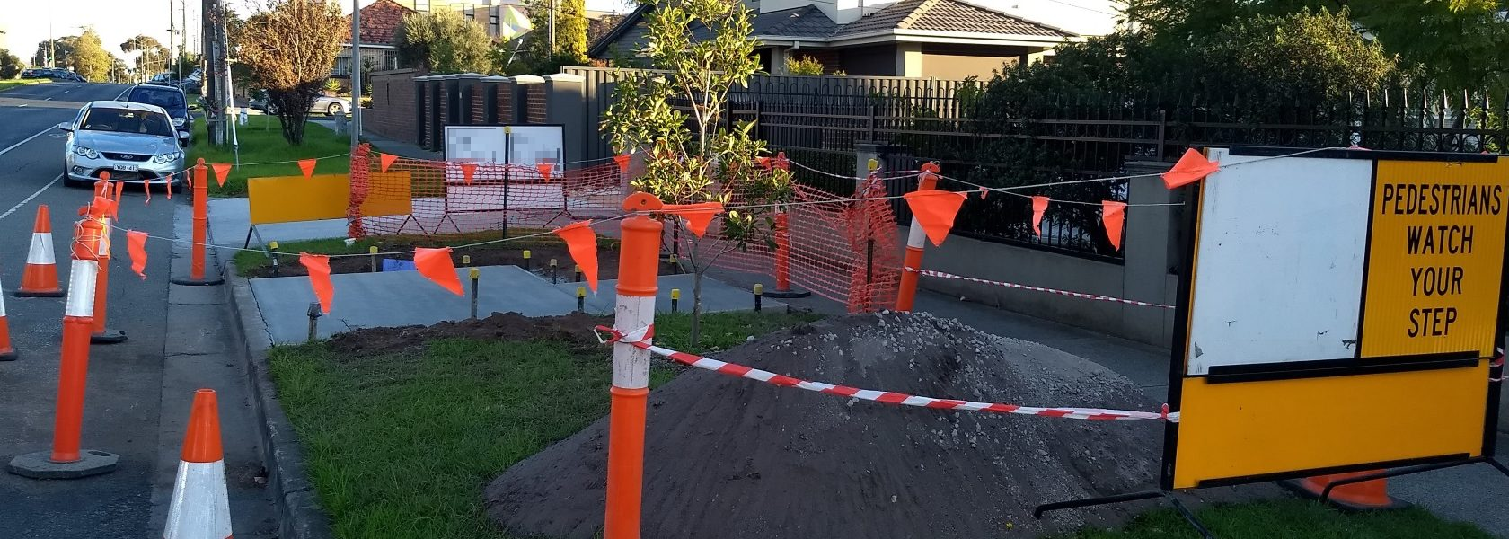 East Boundary Road bus stop under construction